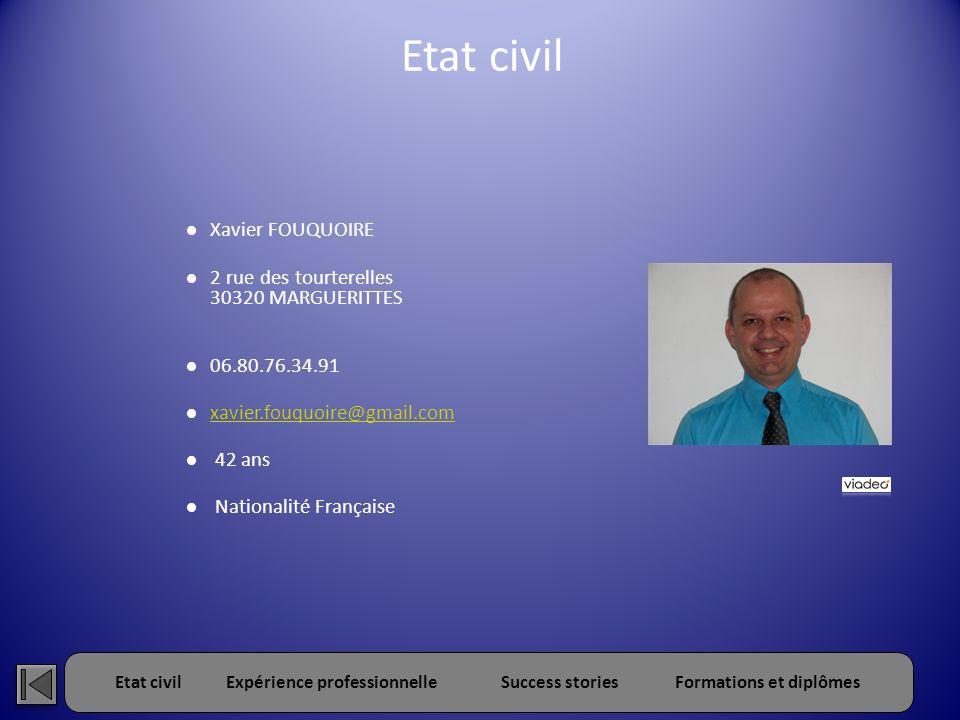 Etat civilExpérience professionnelleSuccess storiesFormations et diplômes Etat civil Xavier FOUQUOIRE 2 rue des tourterelles 30320 MARGUERITTES 06.80.