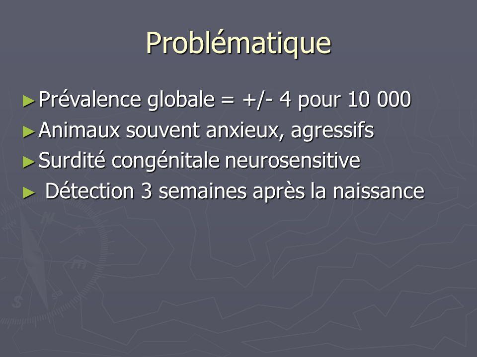 Problématique Prévalence globale = +/- 4 pour 10 000 Prévalence globale = +/- 4 pour 10 000 Animaux souvent anxieux, agressifs Animaux souvent anxieux