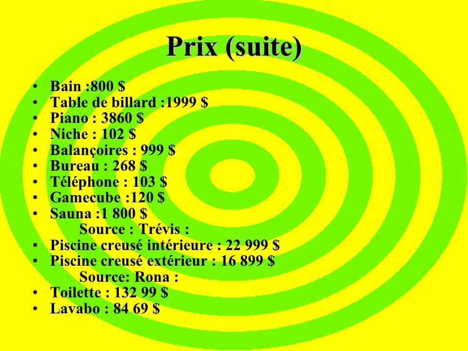 Prix Objets Source :Brault et Martineau Réfrigérateur : 799 $ Cuisinière (Four) : 479 $ Laveuse : 589$ Sécheuse : 399 $ Mobilier de salon (causeuse, s