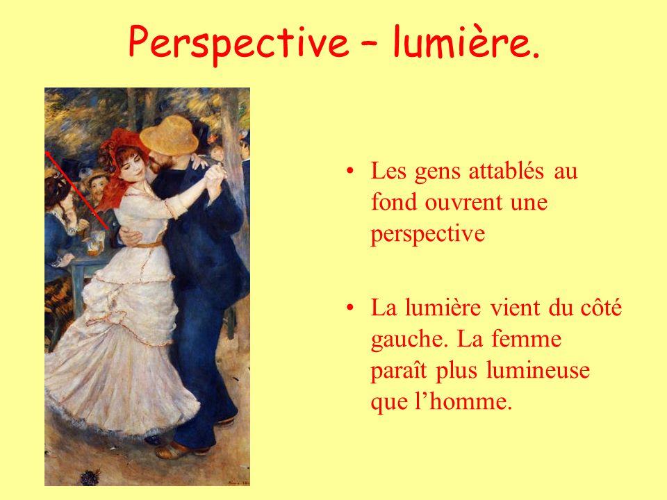 Perspective – lumière. Les gens attablés au fond ouvrent une perspective La lumière vient du côté gauche. La femme paraît plus lumineuse que lhomme.
