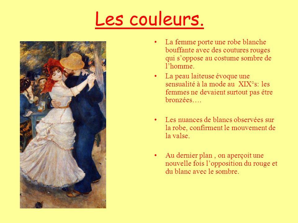 Les couleurs. La femme porte une robe blanche bouffante avec des coutures rouges qui soppose au costume sombre de lhomme. La peau laiteuse évoque une
