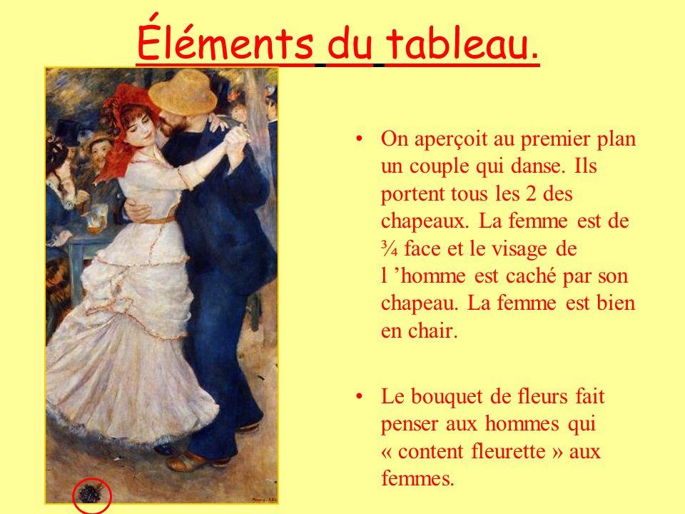 Éléments du tableau. On aperçoit au premier plan un couple qui danse. Ils portent tous les 2 des chapeaux. La femme est de ¾ face et le visage de l ho