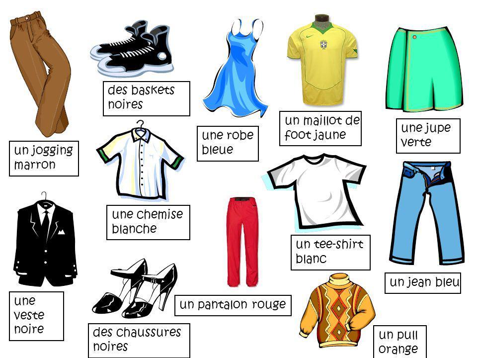 des chaussures noires un pantalon rouge un pull orange une veste noire un jean bleu une jupe verte une chemise blanche un tee-shirt blanc un jogging m