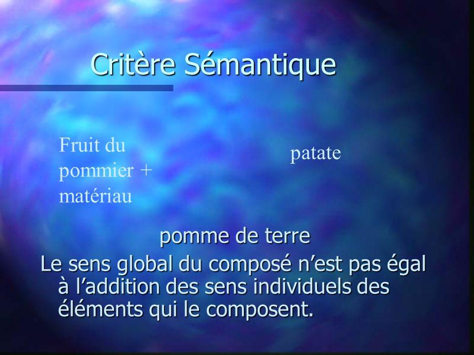 Critère Sémantique pomme de terre Le sens global du composé nest pas égal à laddition des sens individuels des éléments qui le composent.