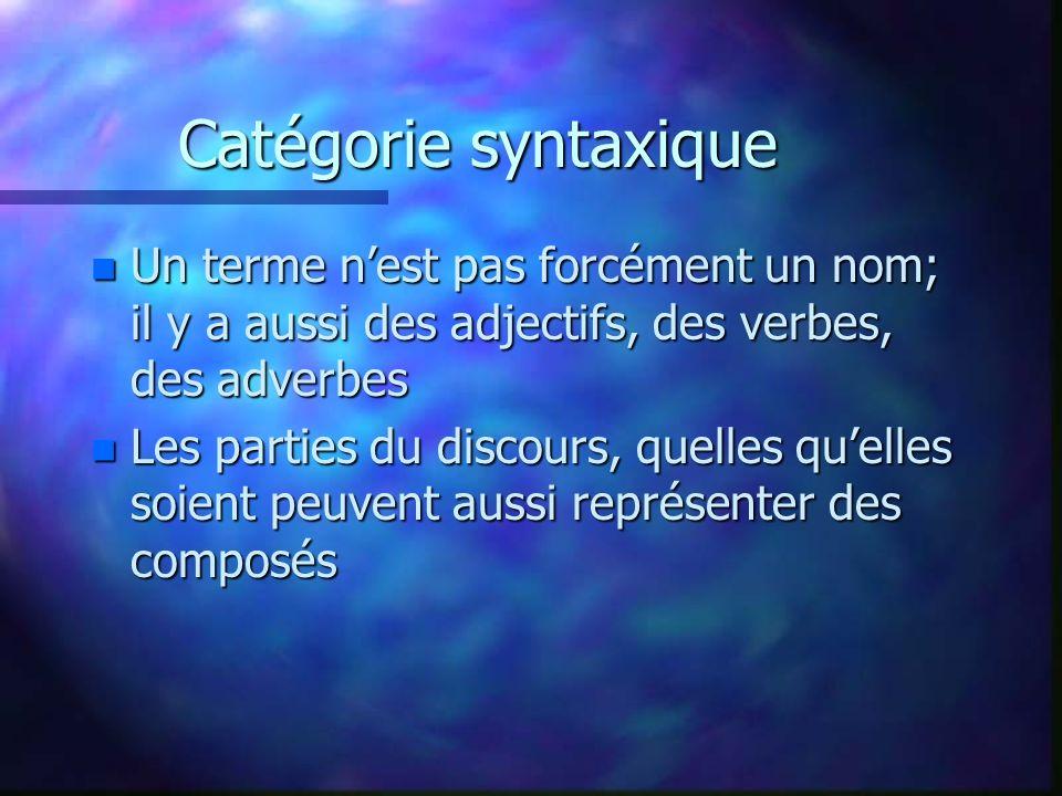 Catégorie syntaxique n Un terme nest pas forcément un nom; il y a aussi des adjectifs, des verbes, des adverbes n Les parties du discours, quelles quelles soient peuvent aussi représenter des composés