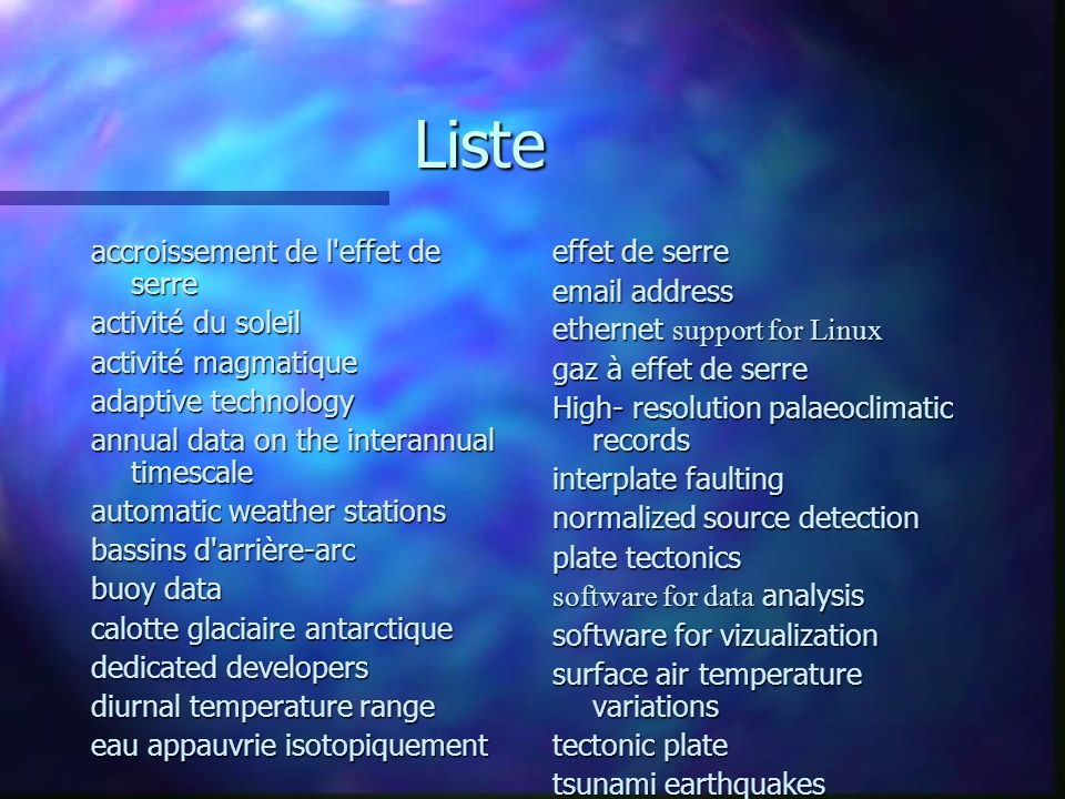Liste accroissement de l'effet de serre activité du soleil activité magmatique adaptive technology annual data on the interannual timescale automatic