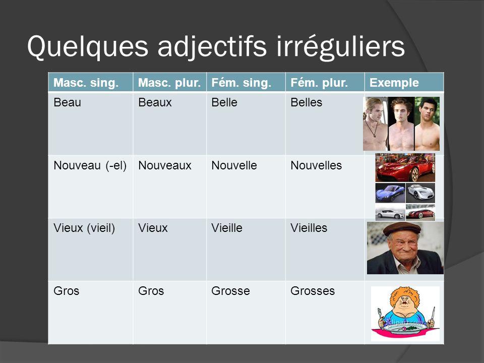 Quelques adjectifs irréguliers Masc. sing.Masc. plur.Fém. sing.Fém. plur.Exemple BeauBeaux BelleBelles Nouveau (-el)NouveauxNouvelleNouvelles Vieux (v