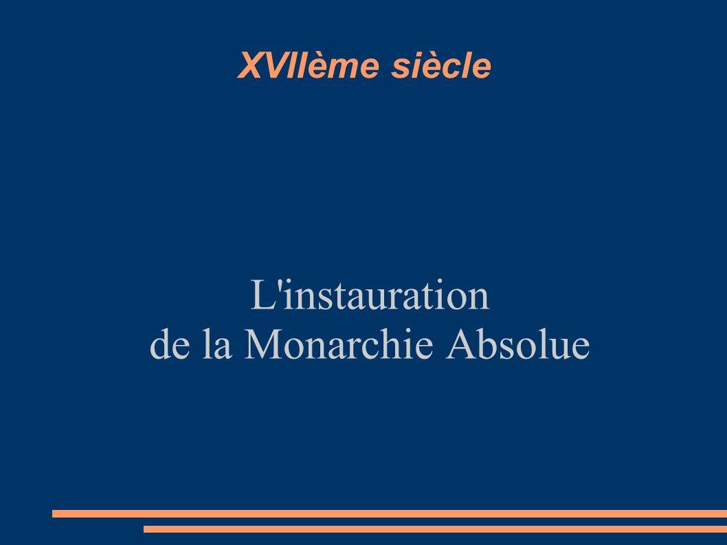 XVIIème siècle L instauration de la Monarchie Absolue