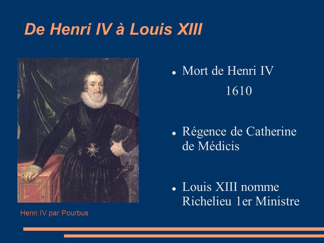 De Henri IV à Louis XIII Mort de Henri IV 1610 Régence de Catherine de Médicis Louis XIII nomme Richelieu 1er Ministre Henri IV par Pourbus