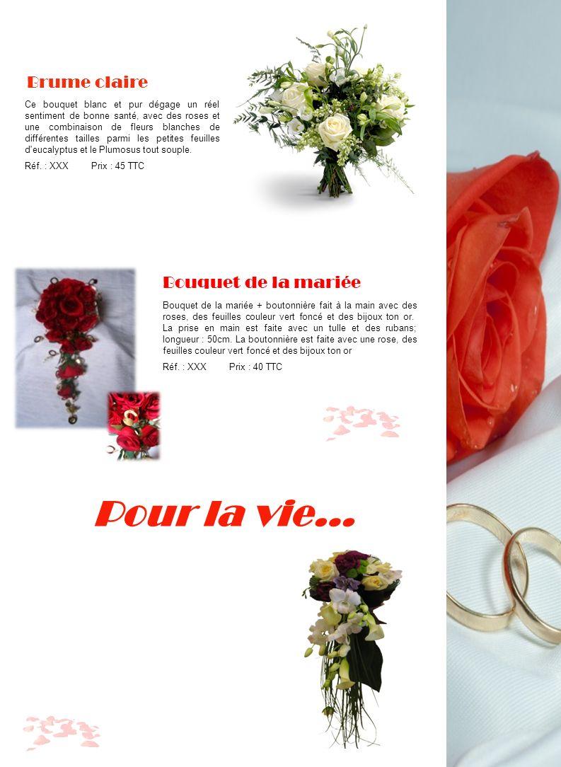 Pour la vie… Bouquet de la mariée + boutonnière fait à la main avec des roses, des feuilles couleur vert foncé et des bijoux ton or. La prise en main