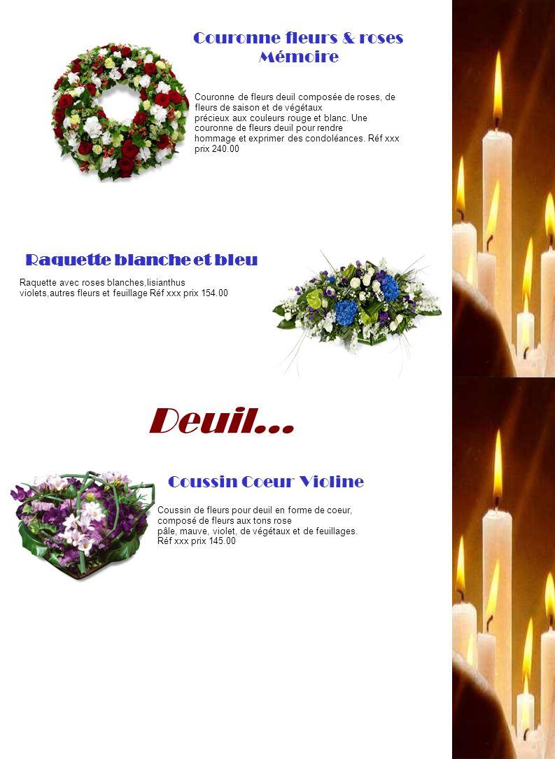 Deuil… Coussin de fleurs pour deuil en forme de coeur, composé de fleurs aux tons rose pâle, mauve, violet, de végétaux et de feuillages. Réf xxx prix