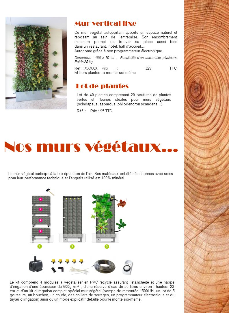 Nos murs végétaux… Ce mur végétal autoportant apporte un espace naturel et reposant au sein de lentreprise. Son encombrement minimum permet de trouver