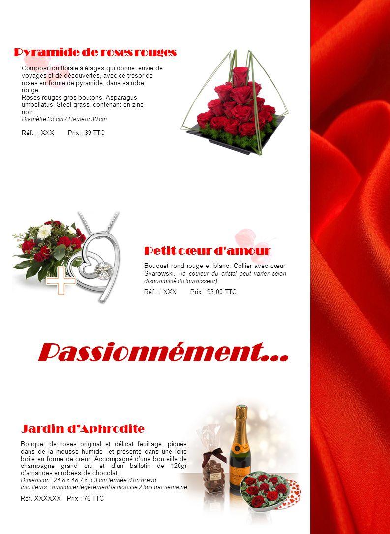 Passionnément… Jardin dAphrodite Bouquet de roses original et délicat feuillage, piqués dans de la mousse humide et présenté dans une jolie boite en f