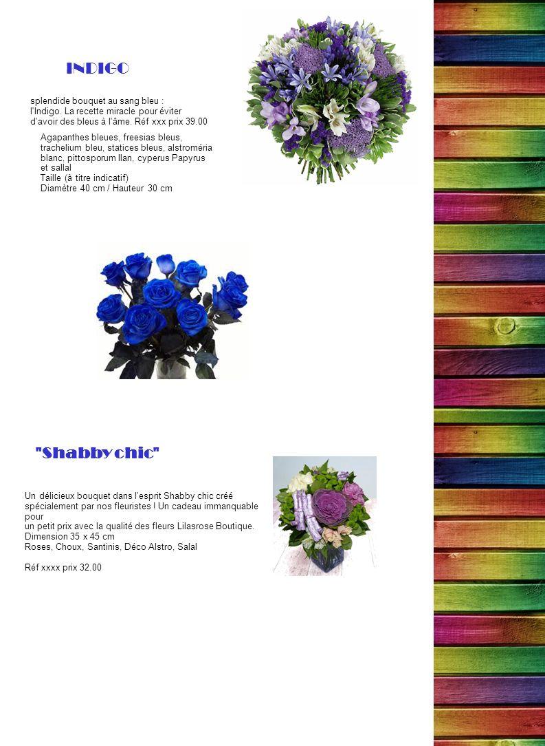 splendide bouquet au sang bleu : l'Indigo. La recette miracle pour éviter d'avoir des bleus à l'âme. Réf xxx prix 39.00 INDIGO Agapanthes bleues, free