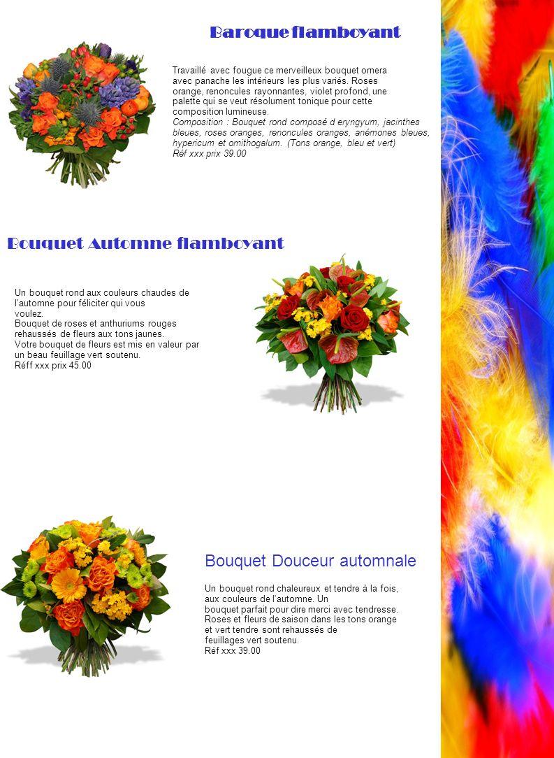 Travaillé avec fougue ce merveilleux bouquet ornera avec panache les intérieurs les plus variés. Roses orange, renoncules rayonnantes, violet profond,