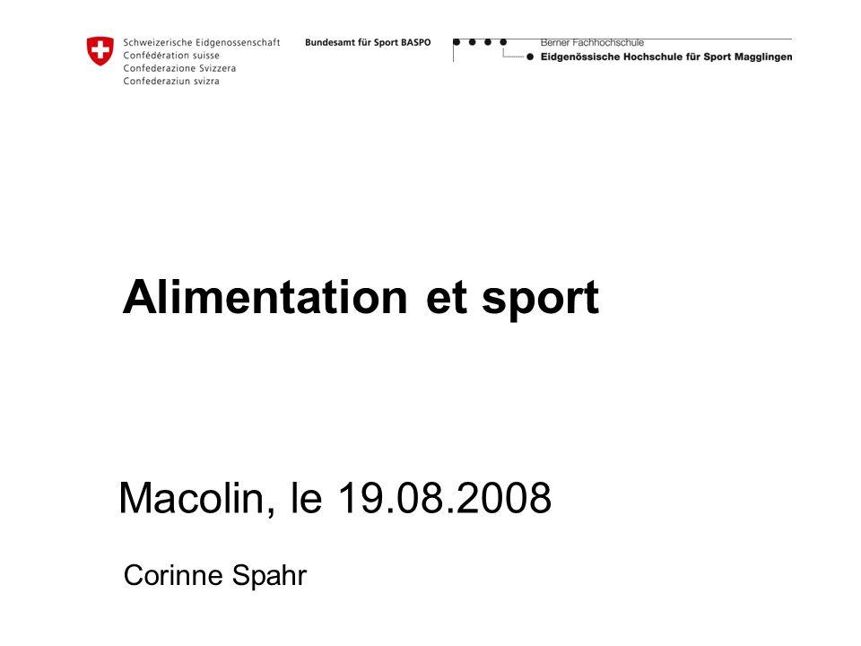Alimentation et sport Macolin, le 19.08.2008 Corinne Spahr