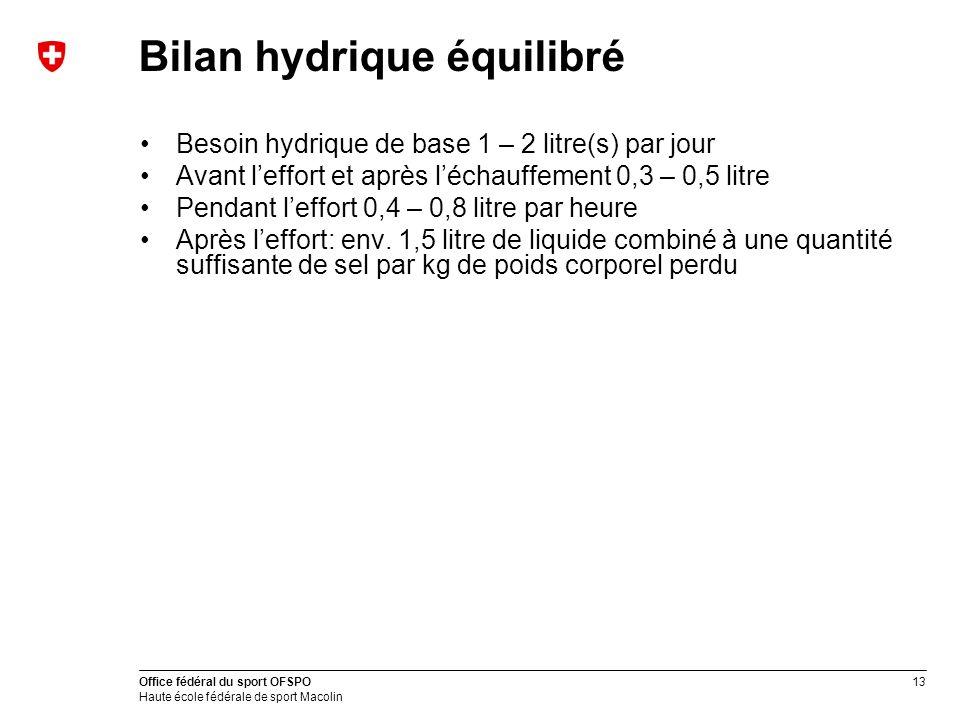13 Office fédéral du sport OFSPO Haute école fédérale de sport Macolin Bilan hydrique équilibré Besoin hydrique de base 1 – 2 litre(s) par jour Avant