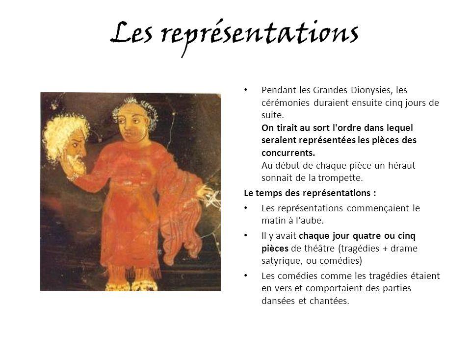 Les représentations Pendant les Grandes Dionysies, les cérémonies duraient ensuite cinq jours de suite.