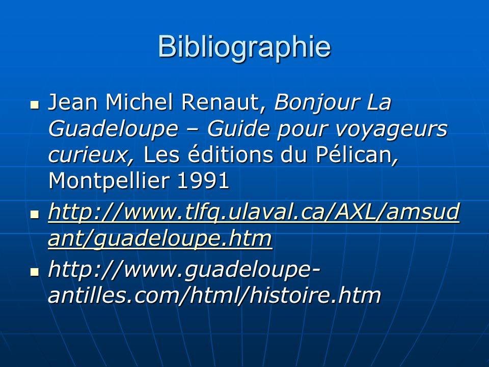 Bibliographie Jean Michel Renaut, Bonjour La Guadeloupe – Guide pour voyageurs curieux, Les éditions du Pélican, Montpellier 1991 Jean Michel Renaut, Bonjour La Guadeloupe – Guide pour voyageurs curieux, Les éditions du Pélican, Montpellier 1991 http://www.tlfq.ulaval.ca/AXL/amsud ant/guadeloupe.htm http://www.tlfq.ulaval.ca/AXL/amsud ant/guadeloupe.htm http://www.tlfq.ulaval.ca/AXL/amsud ant/guadeloupe.htm http://www.tlfq.ulaval.ca/AXL/amsud ant/guadeloupe.htm http://www.guadeloupe- antilles.com/html/histoire.htm http://www.guadeloupe- antilles.com/html/histoire.htm