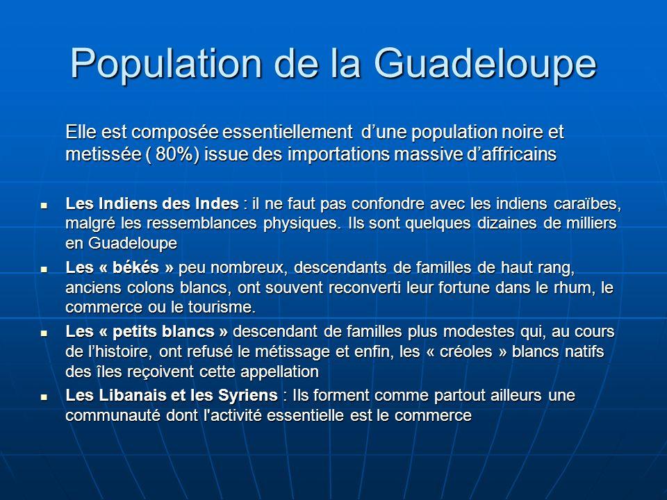 Population de la Guadeloupe Elle est composée essentiellement dune population noire et metissée ( 80%) issue des importations massive daffricains Les Indiens des Indes : il ne faut pas confondre avec les indiens caraïbes, malgré les ressemblances physiques.