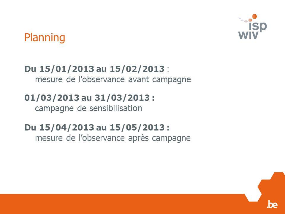 Planning Du 15/01/2013 au 15/02/2013 : mesure de lobservance avant campagne 01/03/2013 au 31/03/2013 : campagne de sensibilisation Du 15/04/2013 au 15