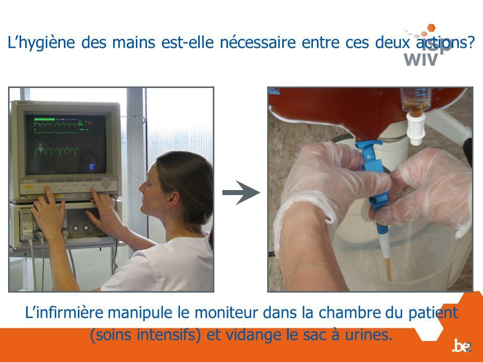 Linfirmière manipule le moniteur dans la chambre du patient (soins intensifs) et vidange le sac à urines. 2 Lhygiène des mains est-elle nécessaire ent