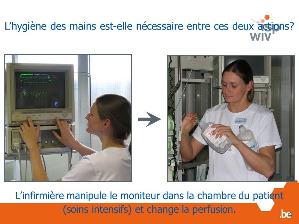 Linfirmière manipule le moniteur dans la chambre du patient (soins intensifs) et change la perfusion. 4 Lhygiène des mains est-elle nécessaire entre c
