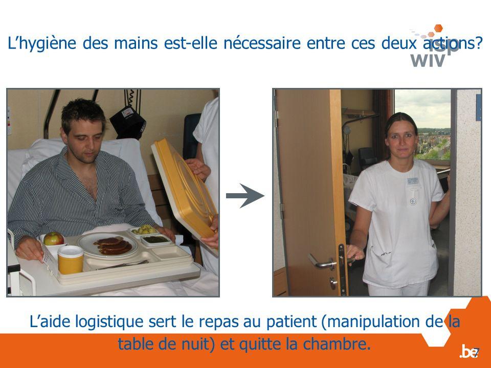 Laide logistique sert le repas au patient (manipulation de la table de nuit) et quitte la chambre. 7 Lhygiène des mains est-elle nécessaire entre ces