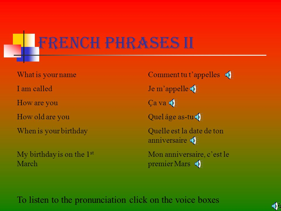 French Phrases II What is your name I am called How are you How old are you When is your birthday My birthday is on the 1 st March Comment tu tappelles Je mappelle Ça va Quel âge as-tu Quelle est la date de ton anniversaire Mon anniversaire, cest le premier Mars To listen to the pronunciation click on the voice boxes