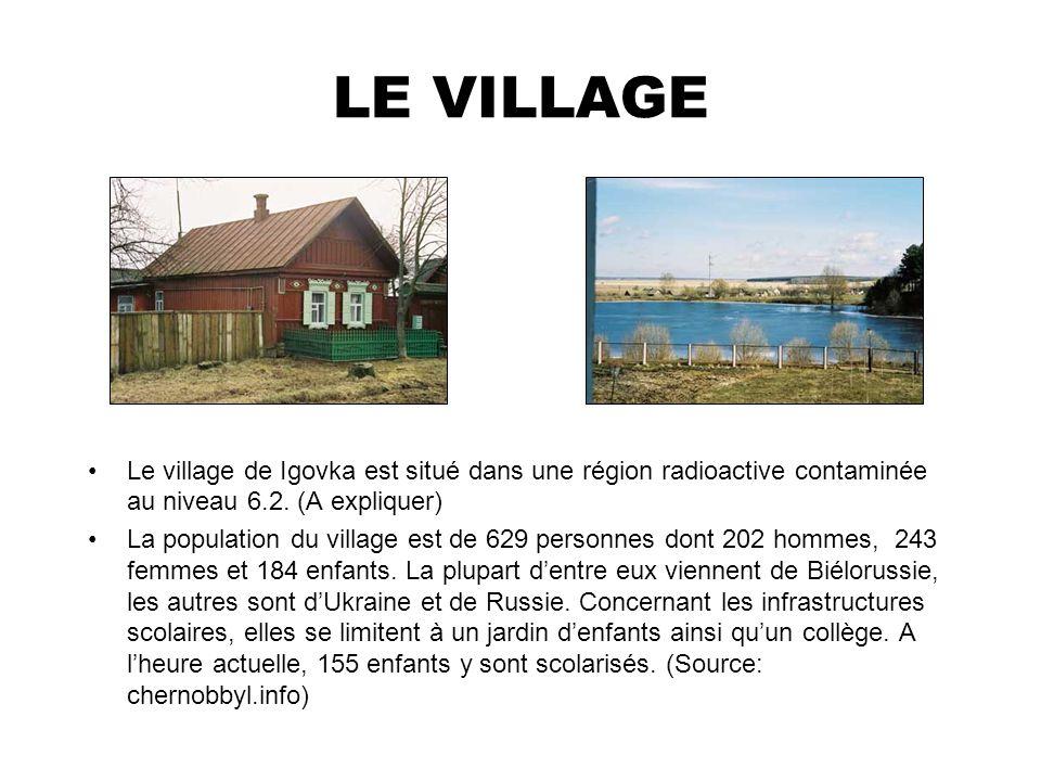 LE VILLAGE Le village de Igovka est situé dans une région radioactive contaminée au niveau 6.2. (A expliquer) La population du village est de 629 pers