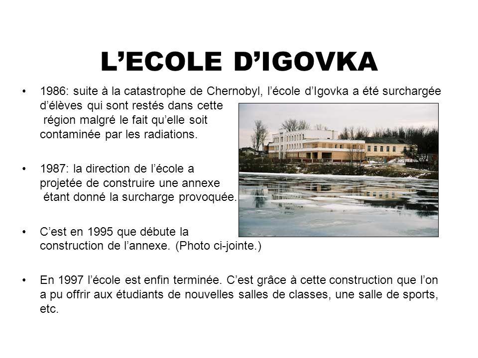 LECOLE DIGOVKA 1986: suite à la catastrophe de Chernobyl, lécole dIgovka a été surchargée délèves qui sont restés dans cette région malgré le fait que