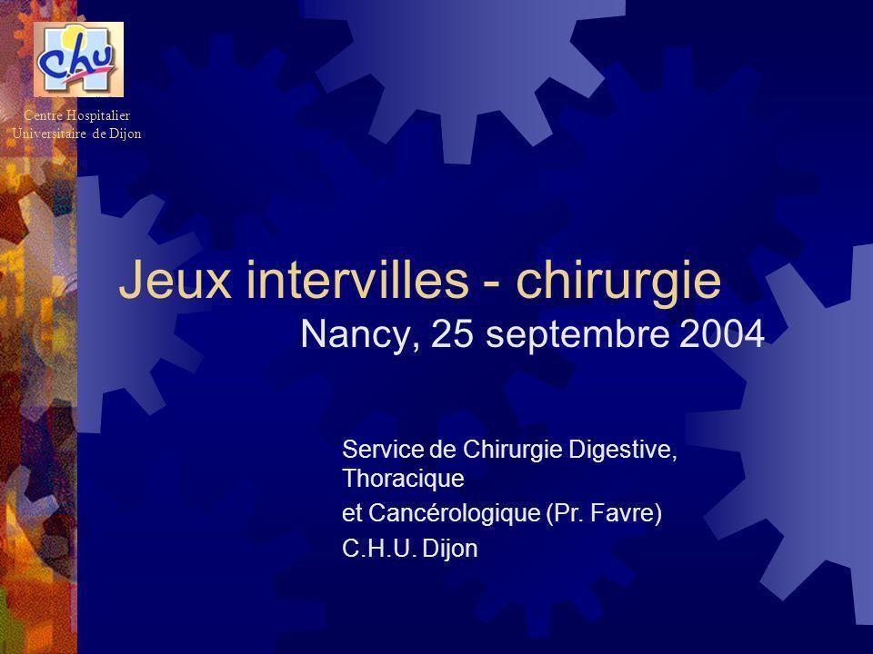 Jeux intervilles - chirurgie Nancy, 25 septembre 2004 Centre Hospitalier Universitaire de Dijon Service de Chirurgie Digestive, Thoracique et Cancérol