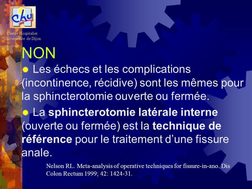 NON Les échecs et les complications (incontinence, récidive) sont les mêmes pour la sphincterotomie ouverte ou fermée. La sphincterotomie latérale int