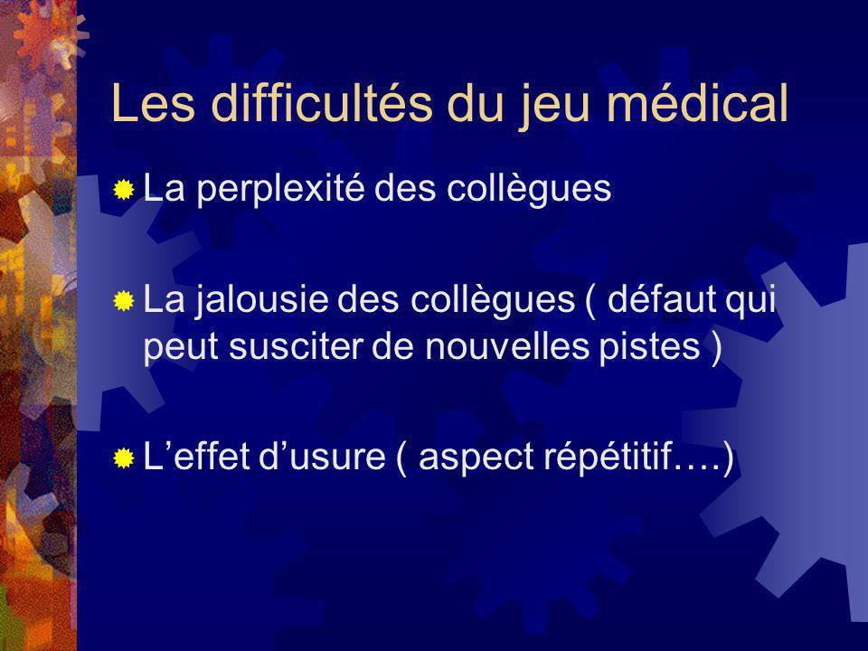 Les difficultés du jeu médical La perplexité des collègues La jalousie des collègues ( défaut qui peut susciter de nouvelles pistes ) Leffet dusure (