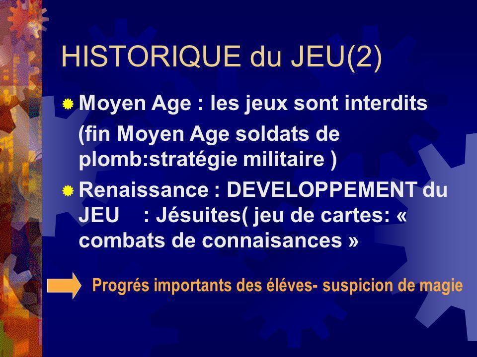 HISTORIQUE du JEU(2) Moyen Age : les jeux sont interdits (fin Moyen Age soldats de plomb:stratégie militaire ) Renaissance : DEVELOPPEMENT du JEU : Jé