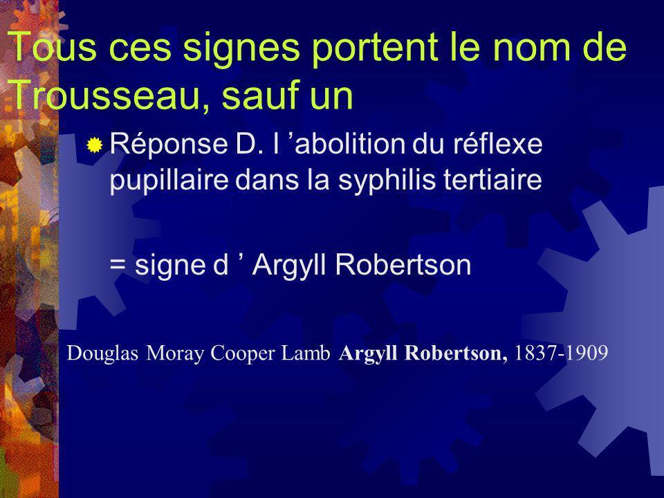 Tous ces signes portent le nom de Trousseau, sauf un Réponse D. l abolition du réflexe pupillaire dans la syphilis tertiaire = signe d Argyll Robertso