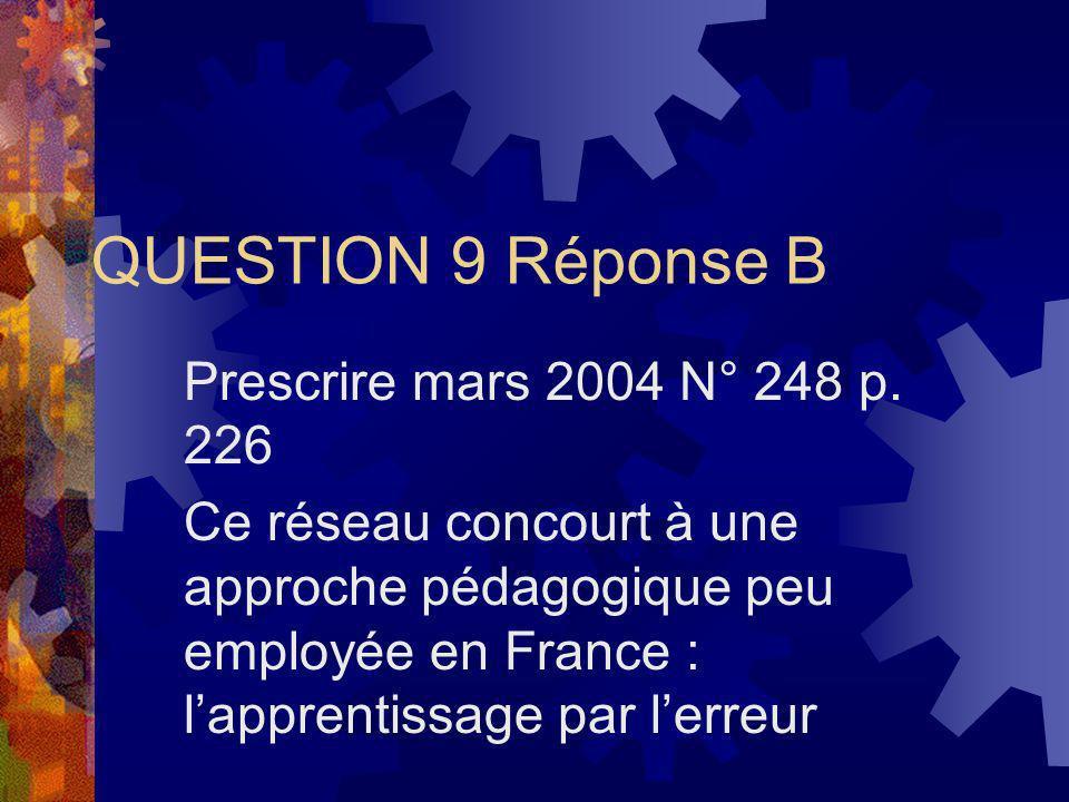 QUESTION 9 Réponse B Prescrire mars 2004 N° 248 p. 226 Ce réseau concourt à une approche pédagogique peu employée en France : lapprentissage par lerre