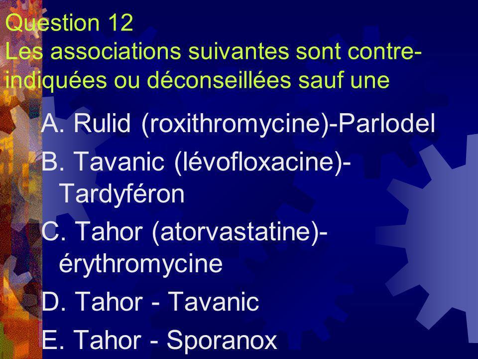 Question 12 Les associations suivantes sont contre- indiquées ou déconseillées sauf une A. Rulid (roxithromycine)-Parlodel B. Tavanic (lévofloxacine)-