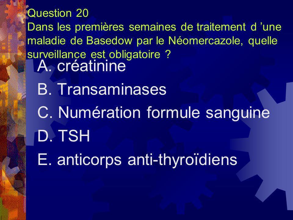 Question 20 Dans les premières semaines de traitement d une maladie de Basedow par le Néomercazole, quelle surveillance est obligatoire ? A. créatinin