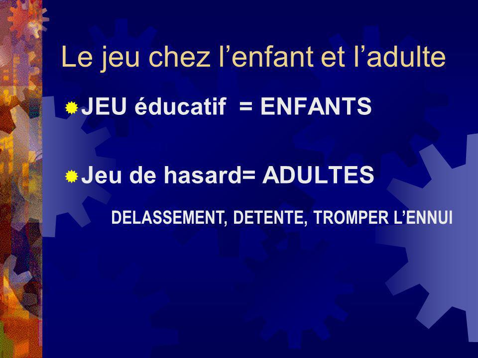 Le jeu chez lenfant et ladulte JEU éducatif = ENFANTS Jeu de hasard= ADULTES DELASSEMENT, DETENTE, TROMPER LENNUI