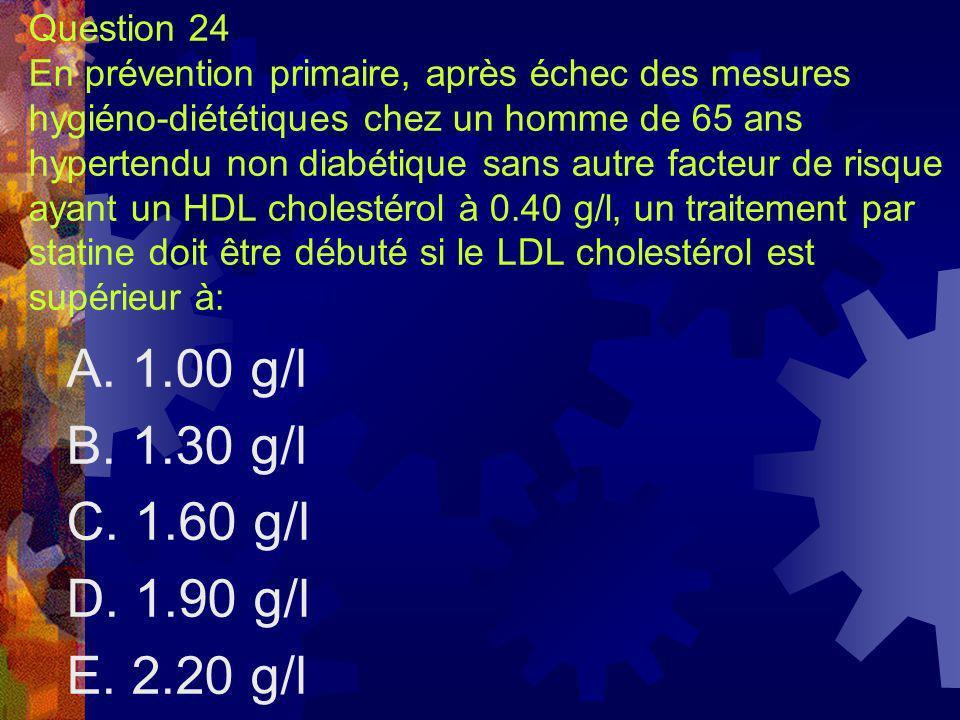 Question 24 En prévention primaire, après échec des mesures hygiéno-diététiques chez un homme de 65 ans hypertendu non diabétique sans autre facteur d