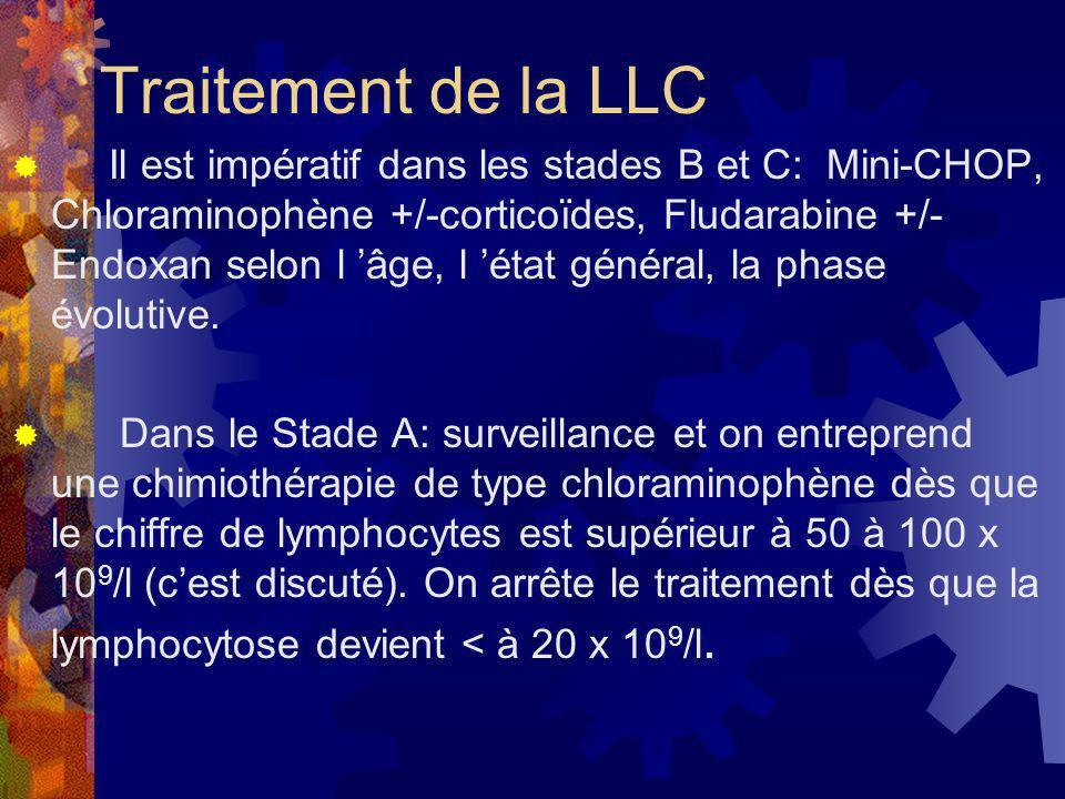 Traitement de la LLC Il est impératif dans les stades B et C: Mini-CHOP, Chloraminophène +/-corticoïdes, Fludarabine +/- Endoxan selon l âge, l état g