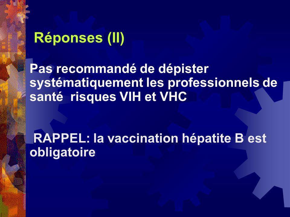 Réponses (II) Pas recommandé de dépister systématiquement les professionnels de santé risques VIH et VHC RAPPEL: la vaccination hépatite B est obligat
