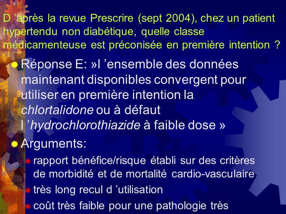 D après la revue Prescrire (sept 2004), chez un patient hypertendu non diabétique, quelle classe médicamenteuse est préconisée en première intention ?