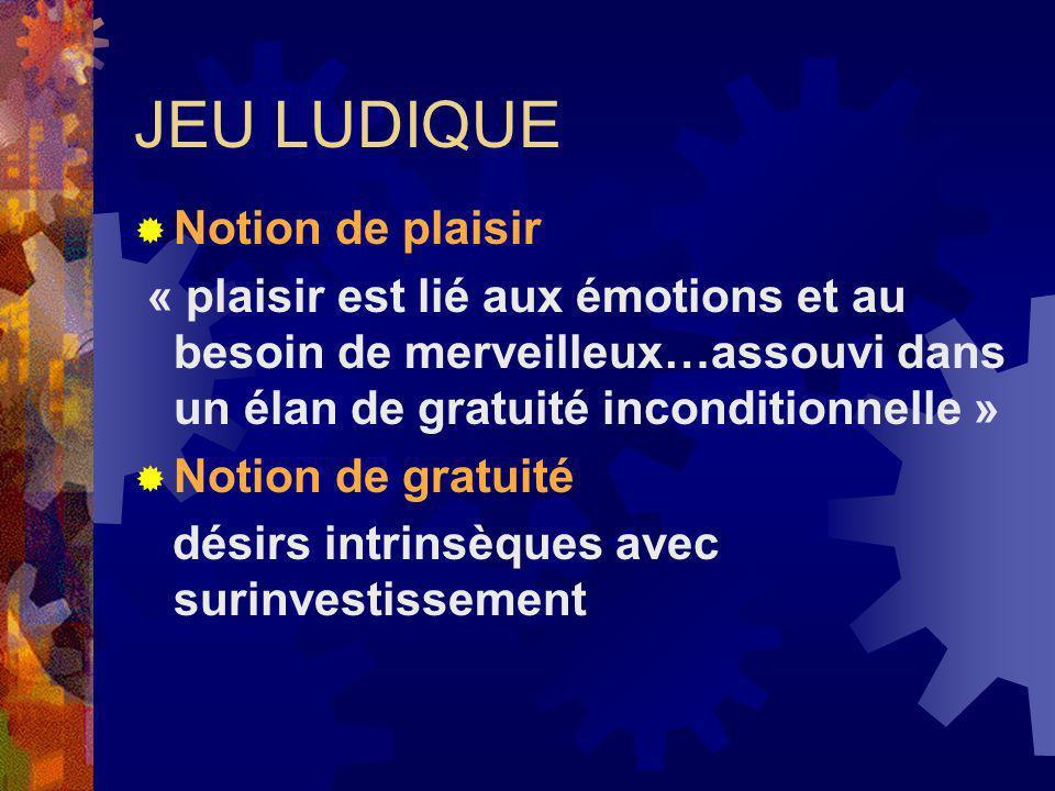 JEU LUDIQUE Notion de plaisir « plaisir est lié aux émotions et au besoin de merveilleux…assouvi dans un élan de gratuité inconditionnelle » Notion de