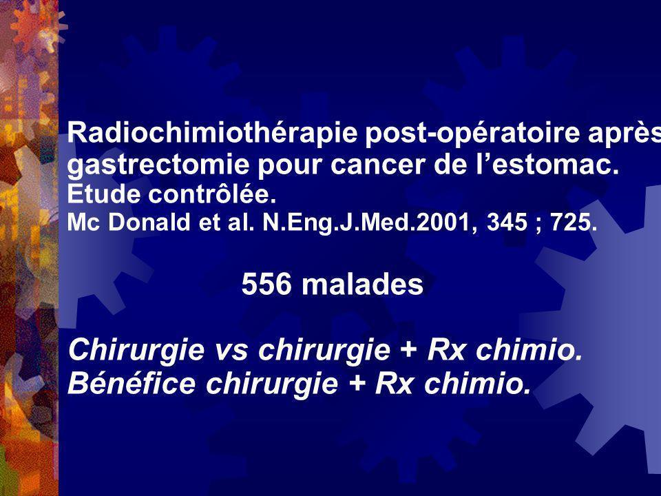 Radiochimiothérapie post-opératoire après gastrectomie pour cancer de lestomac. Etude contrôlée. Mc Donald et al. N.Eng.J.Med.2001, 345 ; 725. 556 mal
