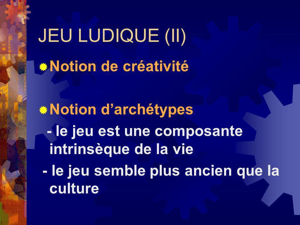 JEU LUDIQUE (II) Notion de créativité Notion darchétypes - le jeu est une composante intrinsèque de la vie - le jeu semble plus ancien que la culture