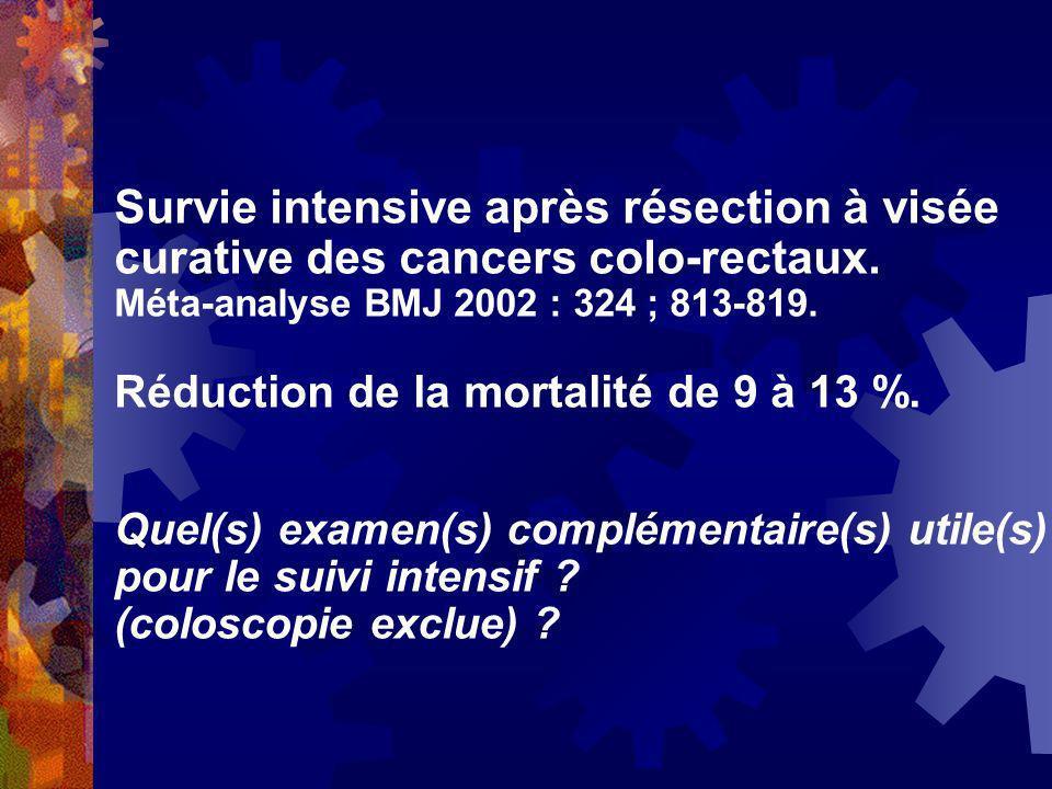 Survie intensive après résection à visée curative des cancers colo-rectaux. Méta-analyse BMJ 2002 : 324 ; 813-819. Réduction de la mortalité de 9 à 13