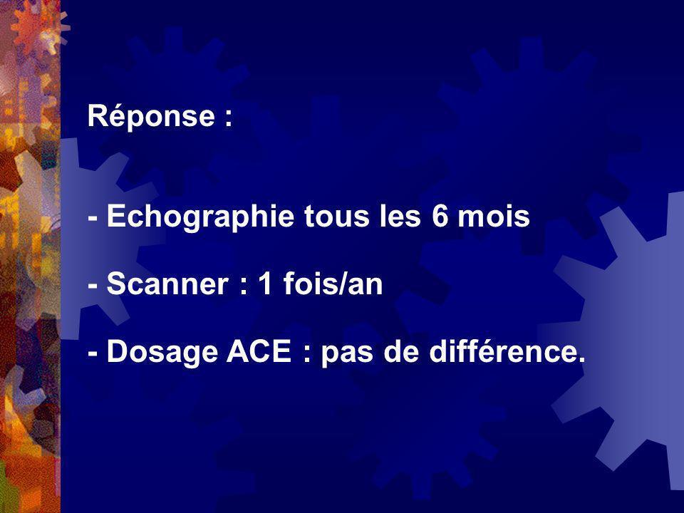 Réponse : - Echographie tous les 6 mois - Scanner : 1 fois/an - Dosage ACE : pas de différence.