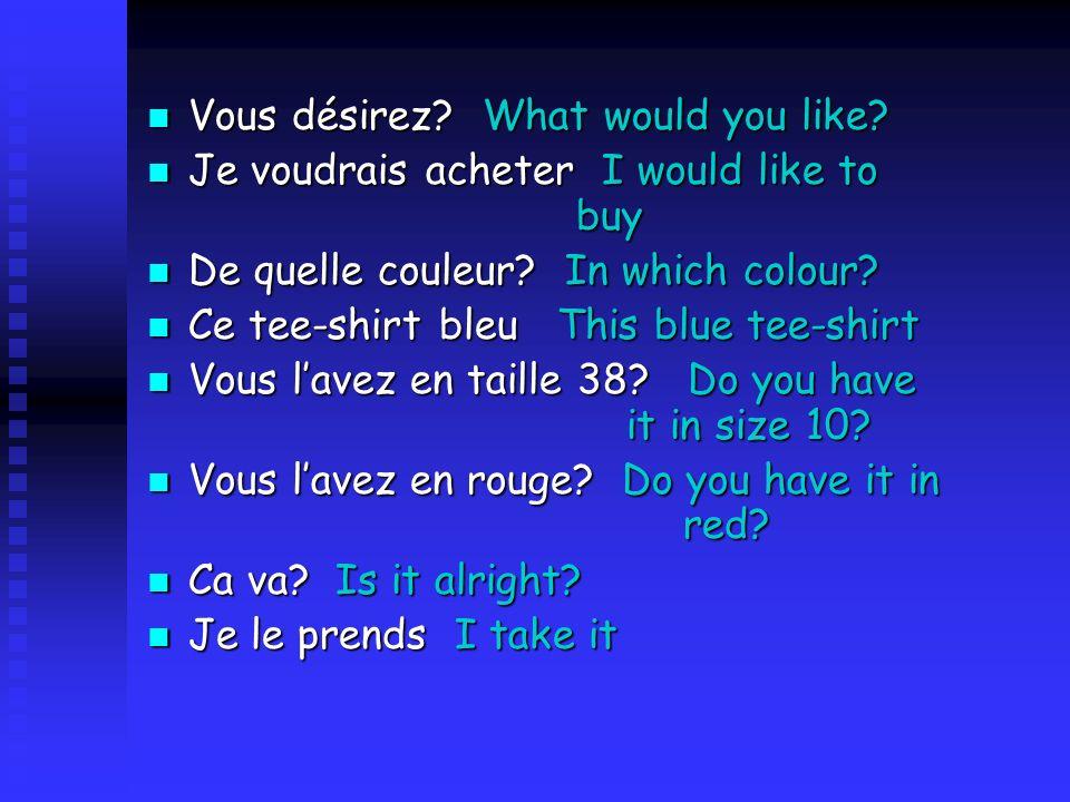 Vous désirez.What would you like. Vous désirez. What would you like.
